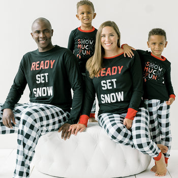 SleepytimePJs Family Matching Black & White Plaid Pajama Sets