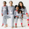 SleepytimePjs Red Holiday Family Matching Grey Plaid Deer Pajama Sets