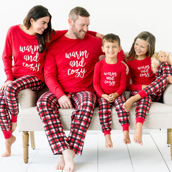 SleepytimePjs Red Plaid Holiday Family Matching Warm and Cozy Pajama Sets
