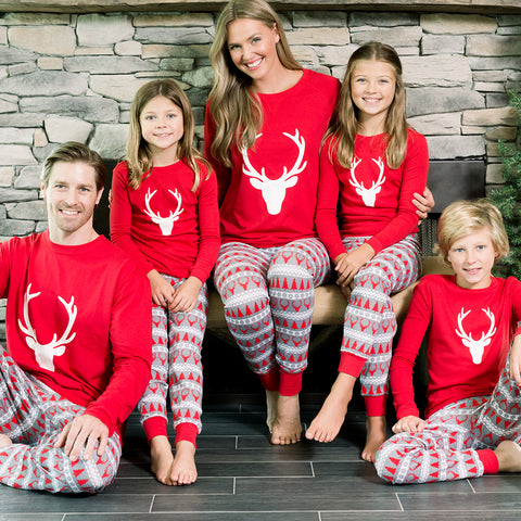 SleepytimePjs Red Holiday Family Matching Fair Isle Deer Pajama PJ Sets