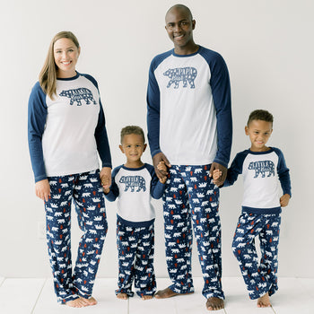 SleepytimePjs Christmas Family Matching Navy and White Bear Fleece Pajamas