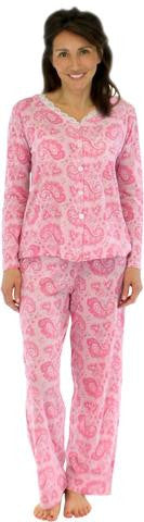 Sleepyheads Women's Longsleeve Cotton Pajamas in Pink on Pink Paisley