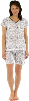 Sleepyheads Women's Lightweight Shortsleeve and Shorts Cotton Pajamas in Charcoal Bird Toile
