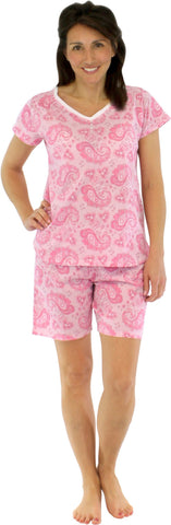 Sleepyheads Women's Lightweight Shortsleeve and Shorts Cotton Pajamas in Pink on Pink Paisley