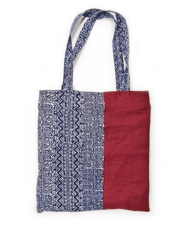 Indigo Batik Tote Bag with Hemp