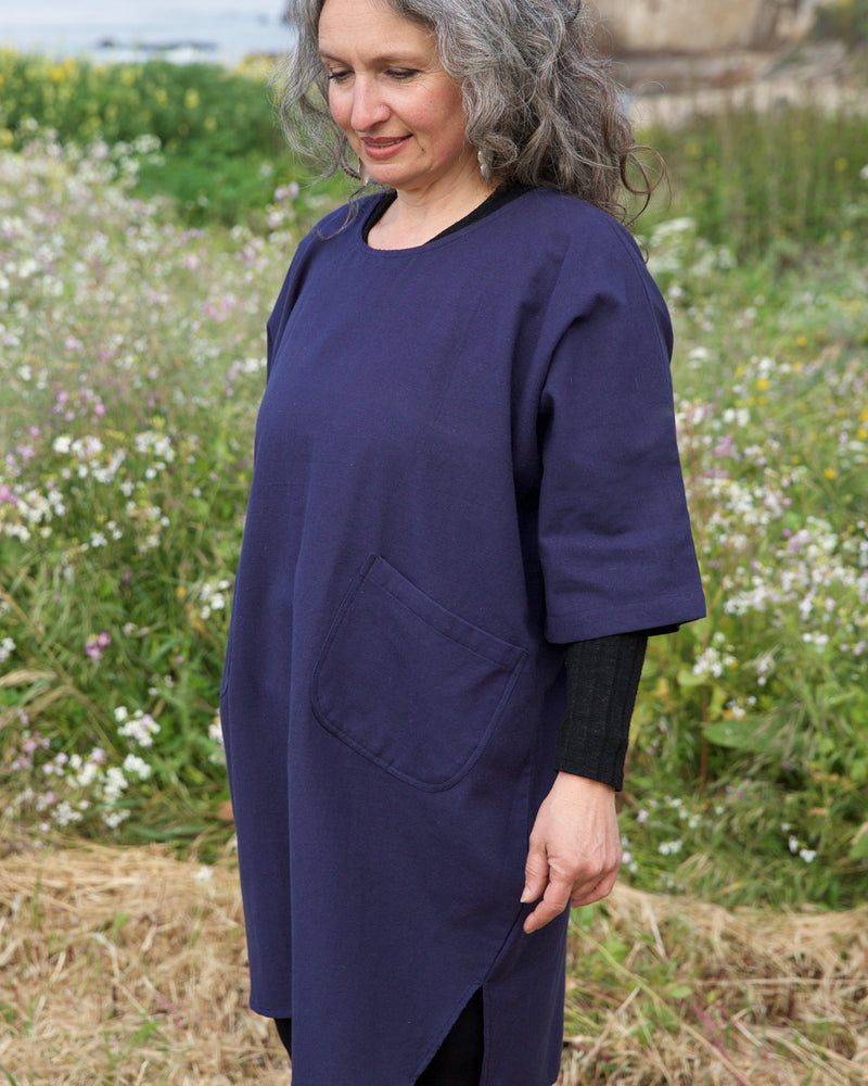 Wide Cotton Dress with Pockets