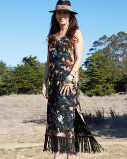 Hand Painted Dress with Fringe