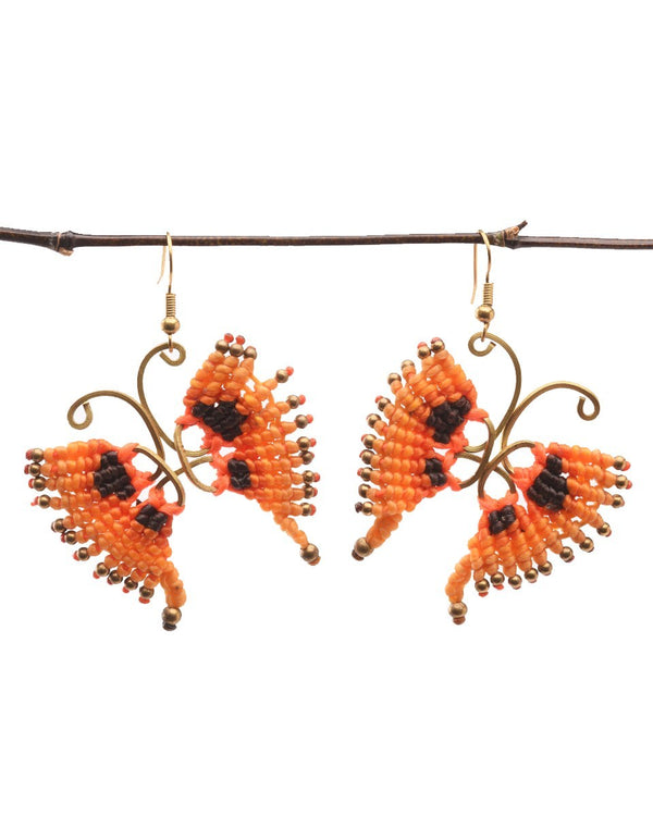 Waxed Cotton Butterfly Earrings