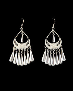Filigree Earring - Tear with Long Drops