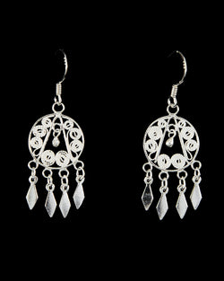 Filigree Earring - Diamond Drops
