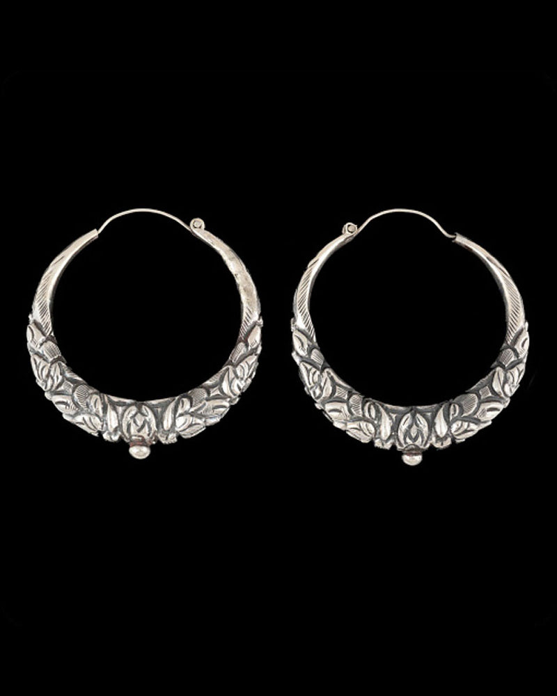 Hollow Nepali Dragon Hoop Earring