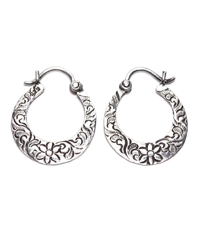 Hoop Earring - Flat with Floral Carving