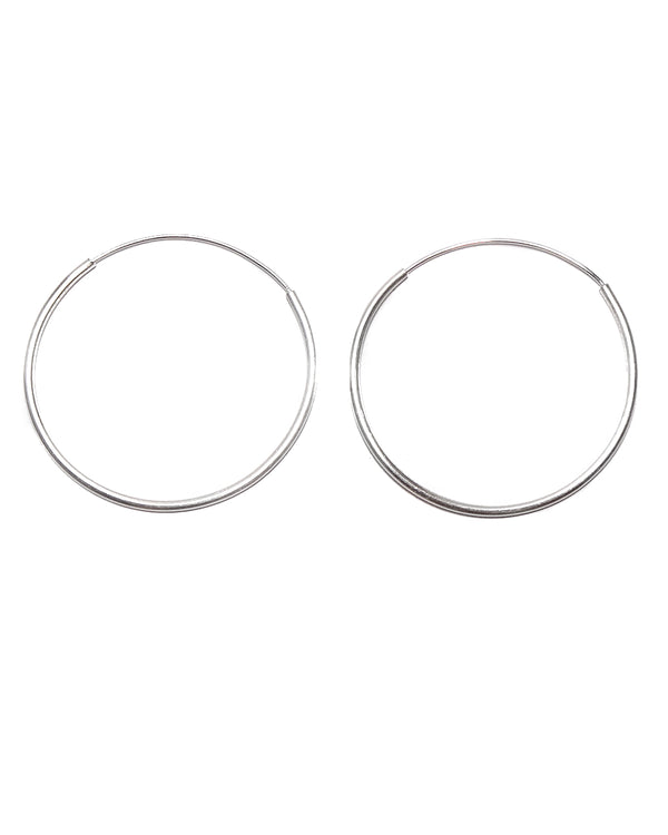 Thin Silver Hoop Earrings