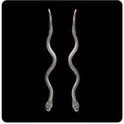 Silver Long Snake Earring
