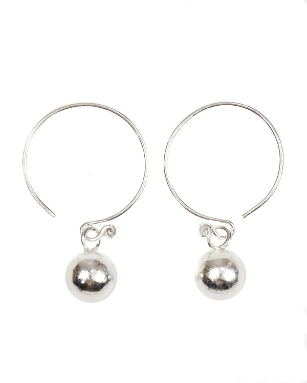 Silver Ball Tribal Earrings