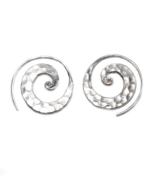 Hammered Open Spiral Earring
