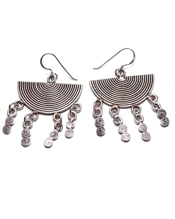 Tribal Earring - Spiral Half Moon