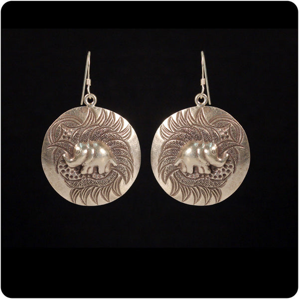 Tribal Earring - Elephant on Disk