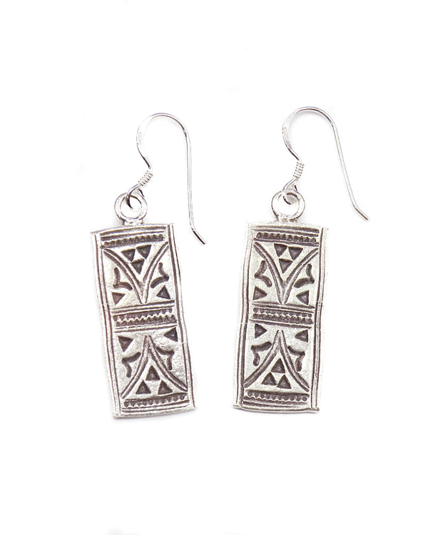 Stamped Spirit Bar Earrings