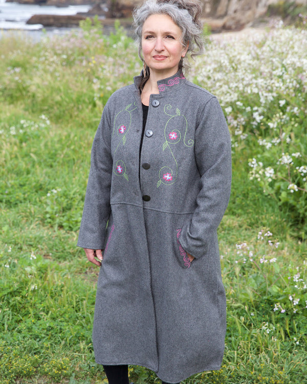 Wool Afghan Coat with Embroidery