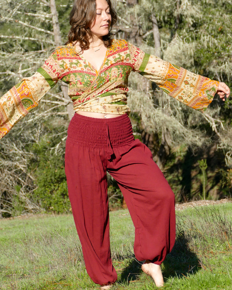 Smocked Waist Harem Pants