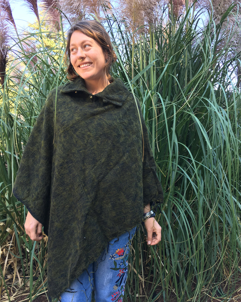 Brushed Woven Poncho in Olive
