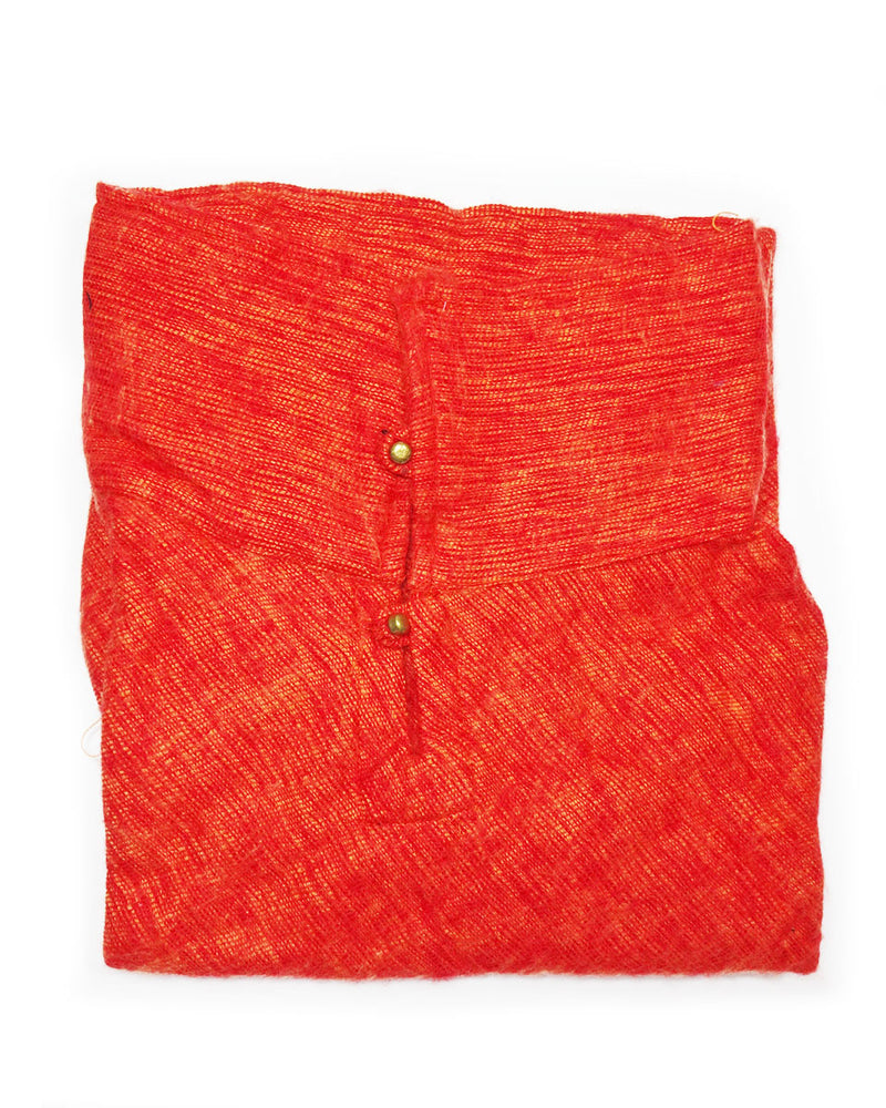 Brushed Woven Poncho in Orange