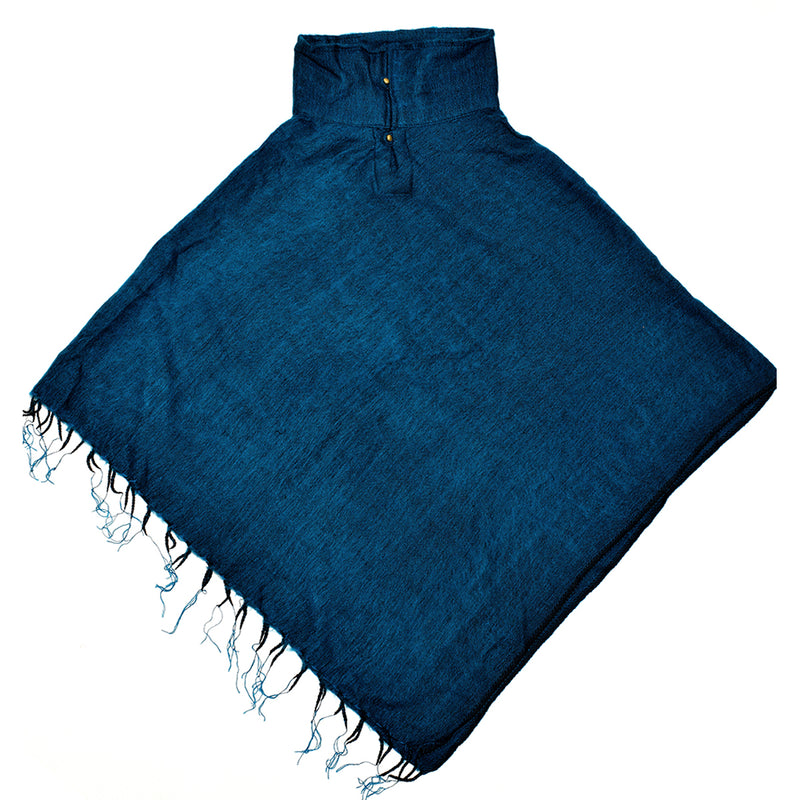 Brushed Woven Poncho in Petrol