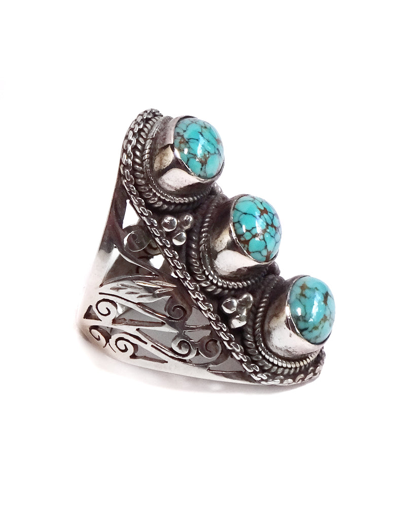 Short Triple Stone Jali Ring