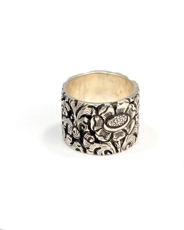 Heavy Silver Flower Band Ring