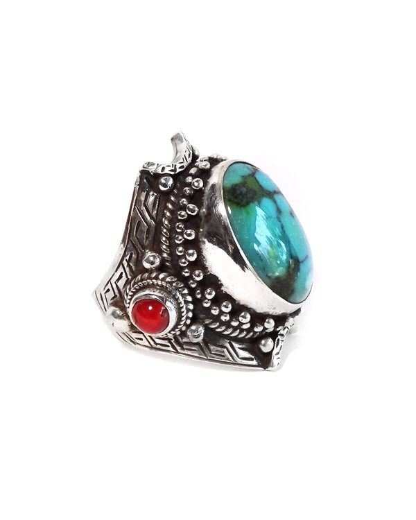 Tibetan Saddle Ring with Coral