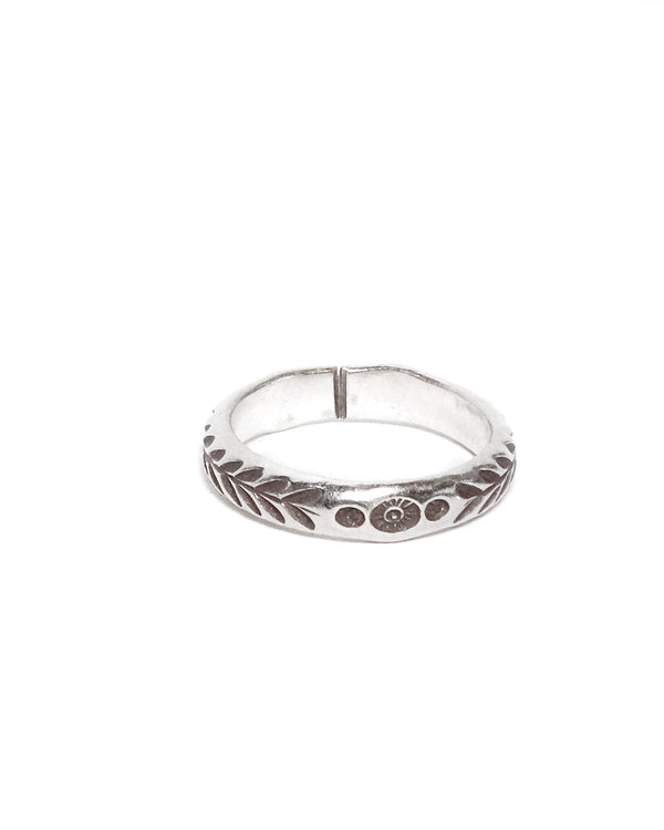 Thin Floral Tribal Ring