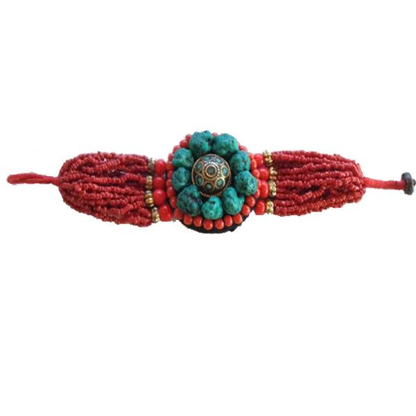 Red Beaded Bracelet with Large Turquoise Center