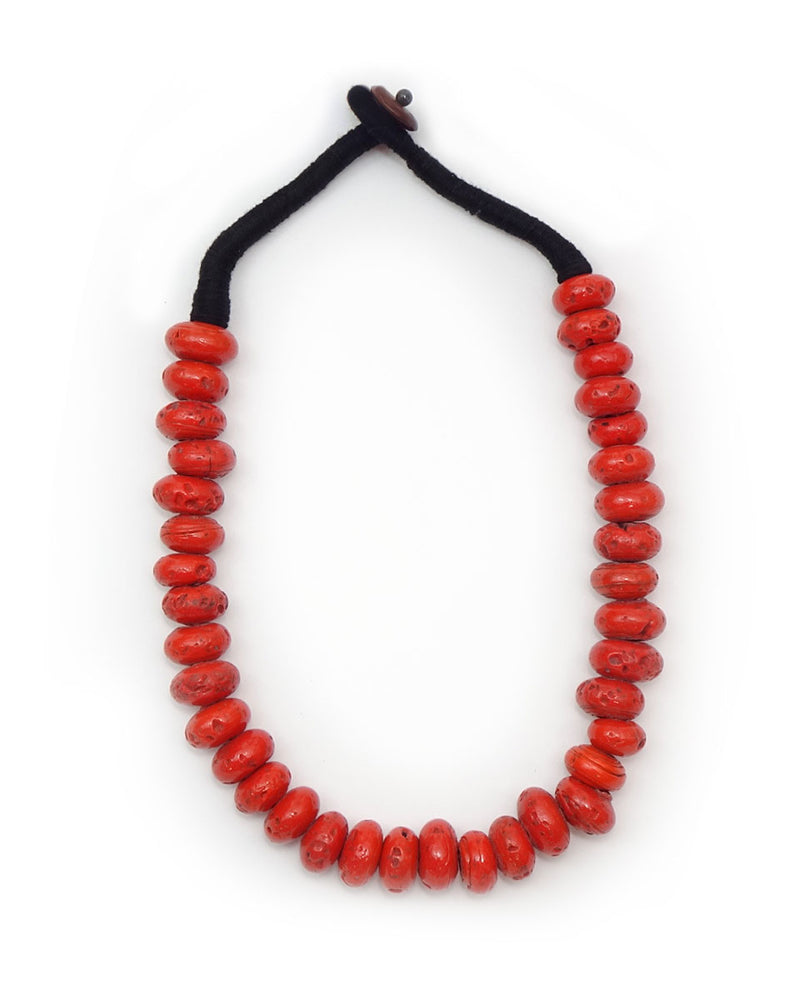 Oval Beaded Village Coral Necklace