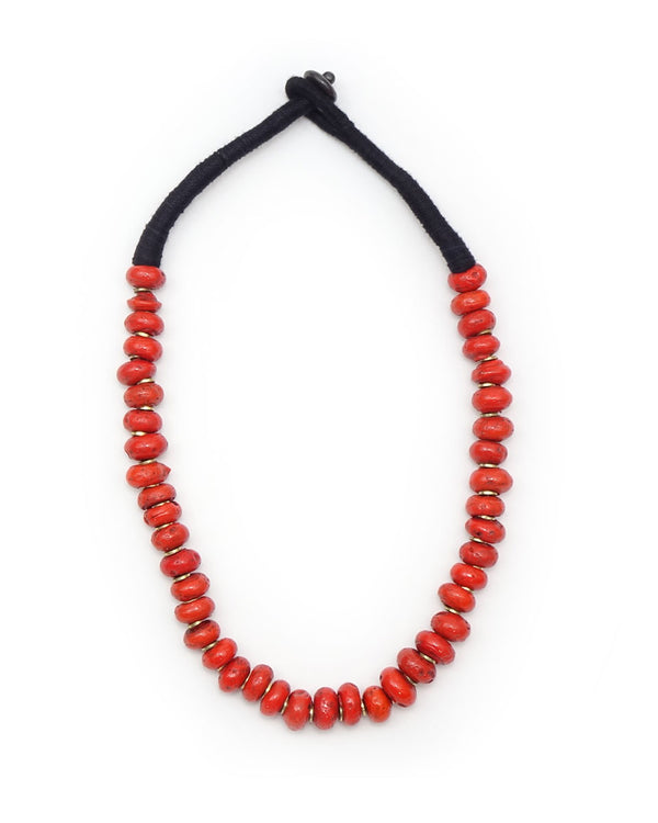 Brass Beaded Village Coral Necklace