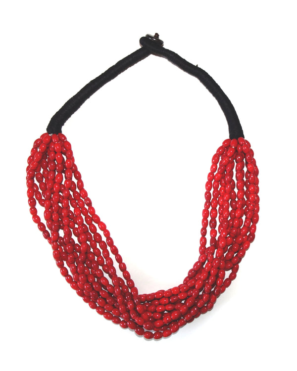 10-Strand Red Beaded Choker