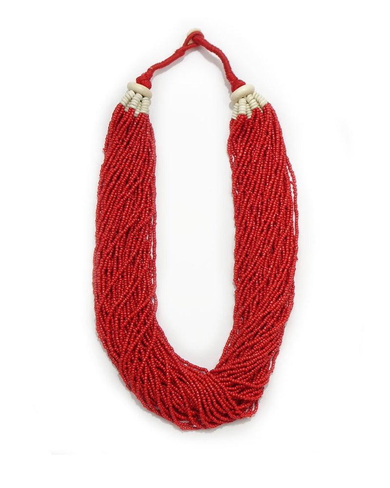 Large Simple Beaded Village Coral Necklace