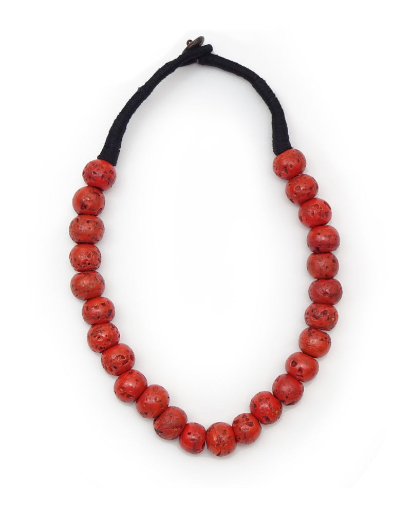 Round Beaded Village Coral Necklace