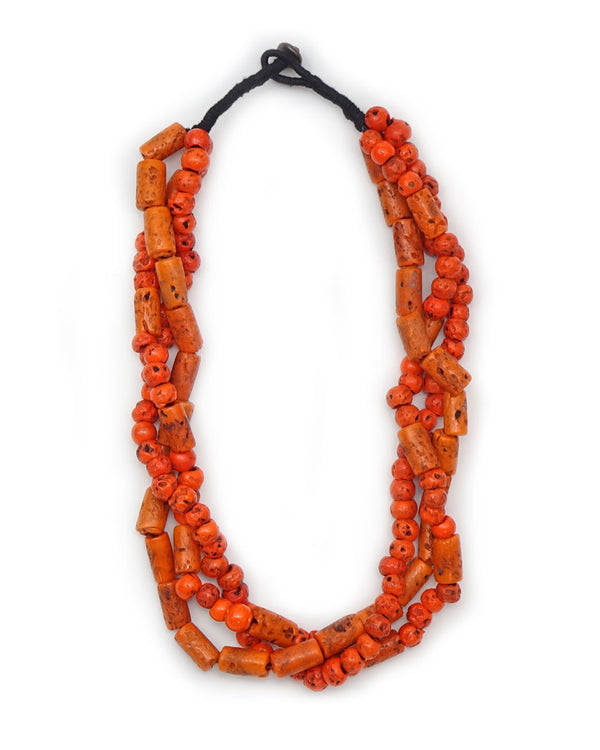 3-Strand Village Coral Necklace