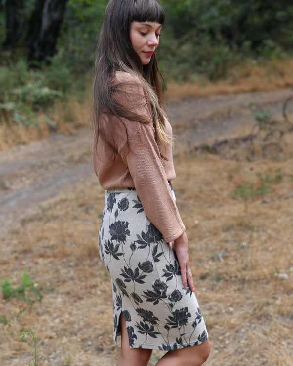 Organic Jacquard Pencil Skirt
