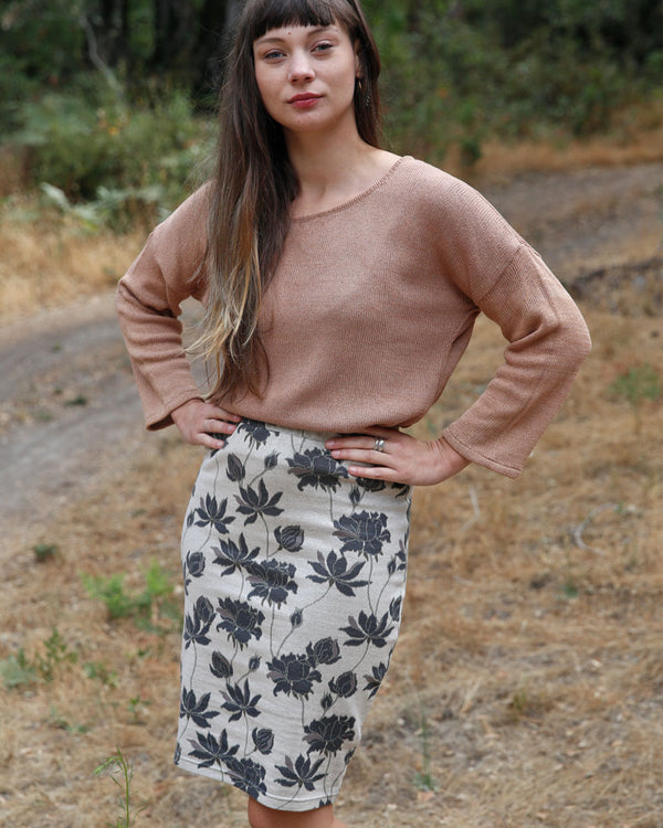 Organic Cotton Jacquard Pencil Skirt