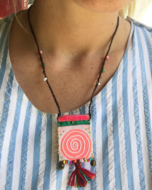 Hmong Tribal Pouch Necklace
