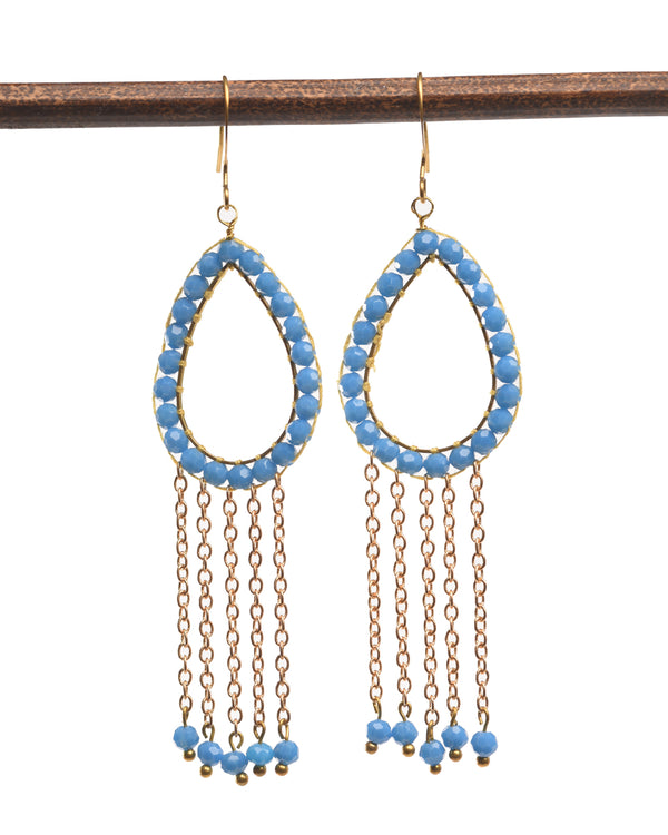 Tear Shape Beaded Earring with Tassels