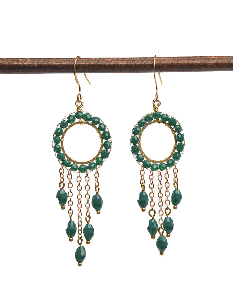 Round Beaded Earring with Tassels