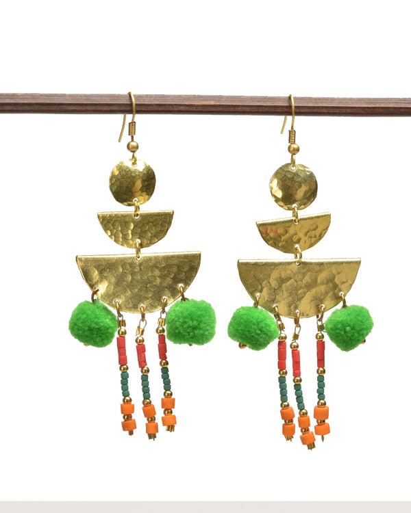 Triple Brass Earrings