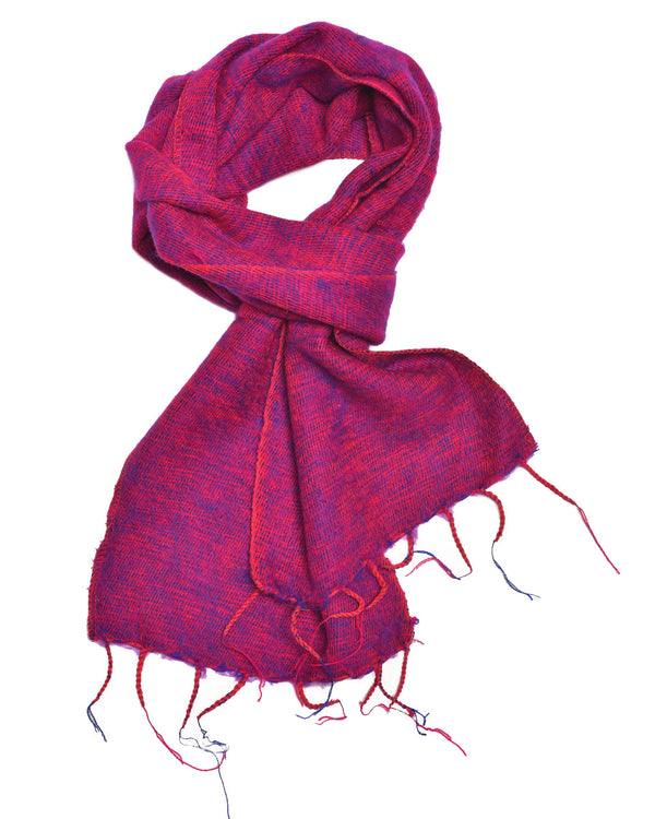 Brushed Woven Scarf in Berry