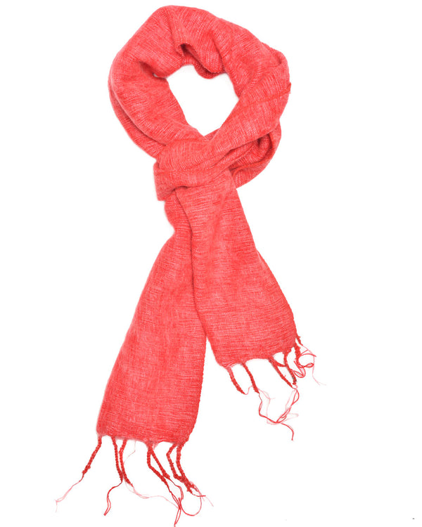 Brushed Woven Scarf in Cherry
