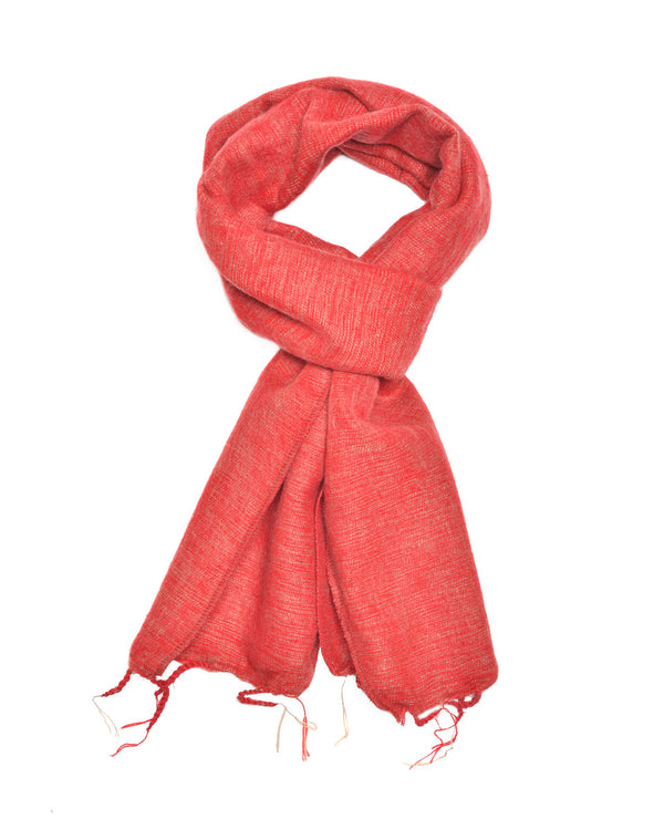 Brushed Woven Scarf in Dusty Red