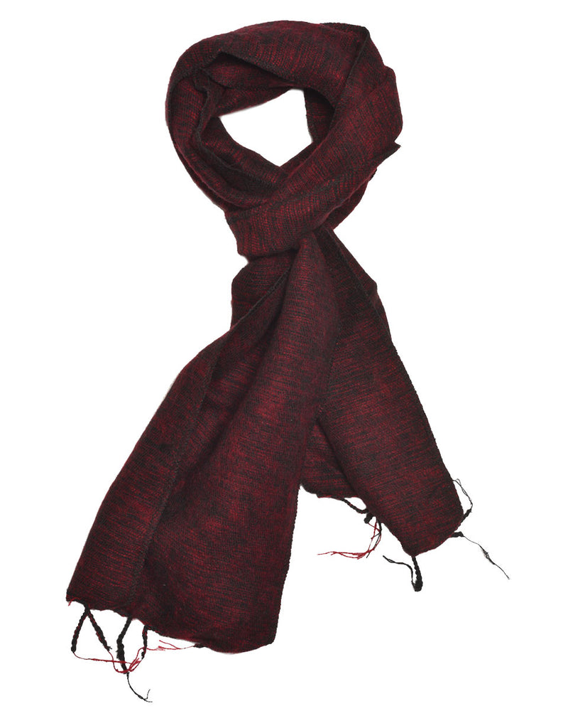 Brushed Woven Scarf in Maroon