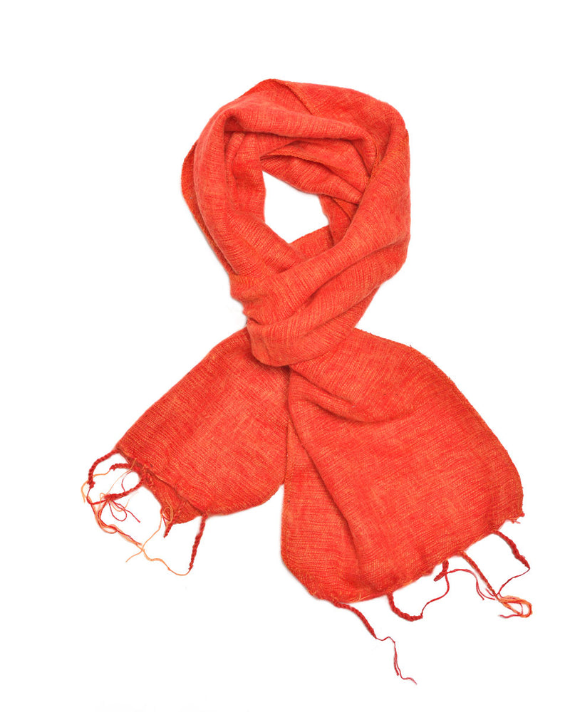 Brushed Woven Scarf in Orange